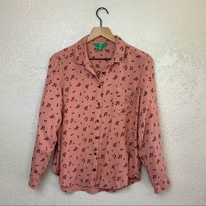 dip woman's long sleeve floral button up